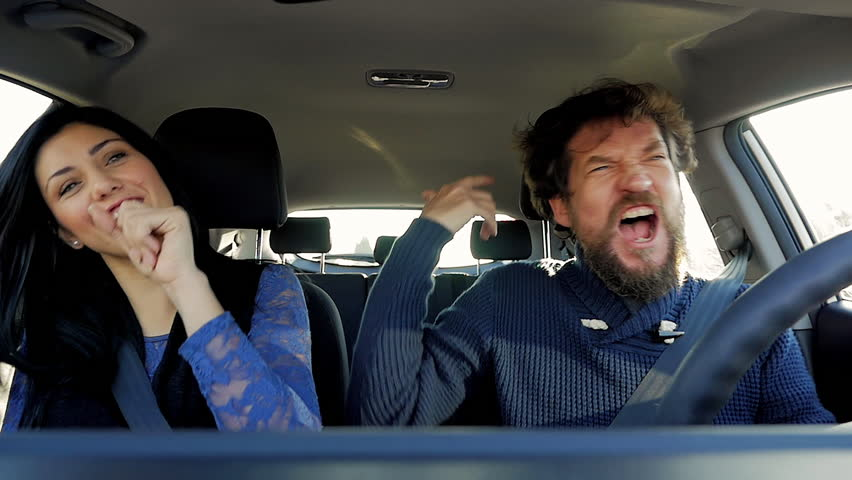 Happiness Is Singing And Dancing In Car Stock Footage Video - In car