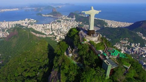 Aerial view of Christ the Redeemer statue and Sugarloaf Mountain in Rio de Janeiro, Brazil.