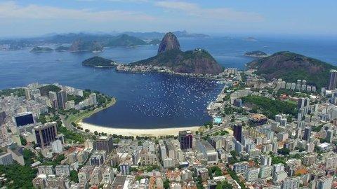 Aerial view of Sugarloaf Mountain and Rio de Janeiro cityscape, Rio de Janeiro, Brazil.