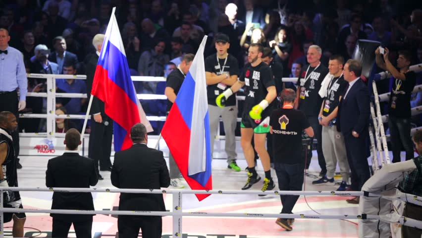 MOSCOW, RUSSIA - DECEMBER 12, 2015: Roy Jones, Jr. (Russia) and Enzo Maccarinelli (England) boxers before the fight. Massive Boxing Show, WBA SUPERCHAMPION WORLD TITLE,