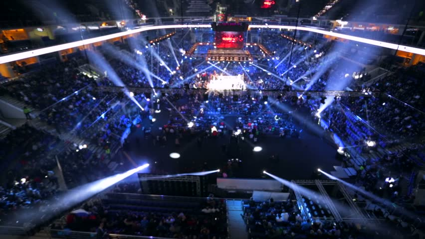 MOSCOW, RUSSIA - DECEMBER 12, 2015: Illuminated boxing ring before the match. Massive Boxing Show, WBA SUPERCHAMPION WORLD TITLE, VTB Ice Palace""