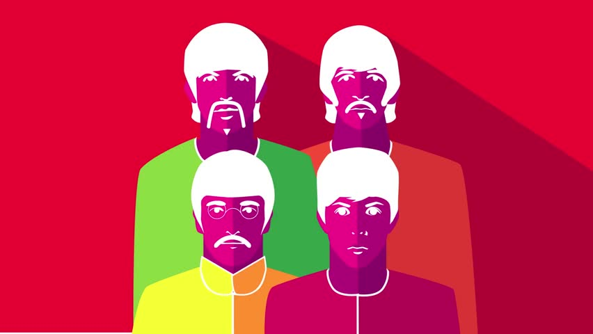 DECEMBER 22 2015: Illustrative Editorial. Loopable animation of The Beatles changing psychedelic poster colors.