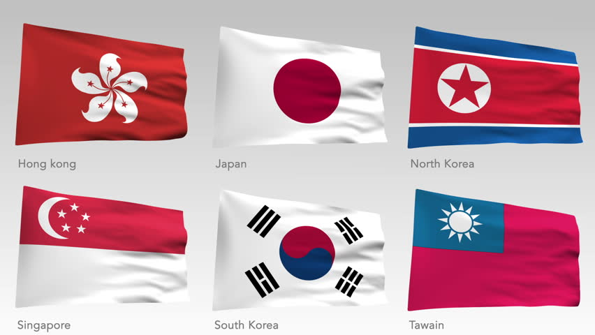 Animated flags of Asia with alpha channel, Hong Kong, Japan, North Korea, South Korea, Taiwan, Singapore