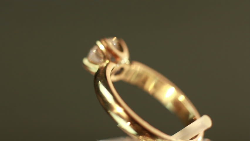 Rotating Yellow Gold Ring With Three Bended Rows Diamonds The