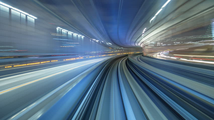 4K Timelapse of automatic train moving to Odaiba, Tokyo, Japan   Shutterstock HD Video #13548596