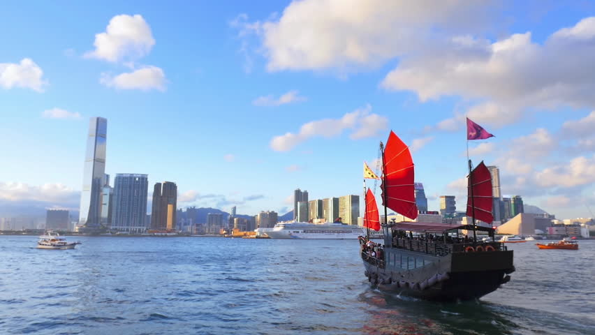 Hong Kong Panoramic Cityscape View Stock Footage Video 100 Royalty