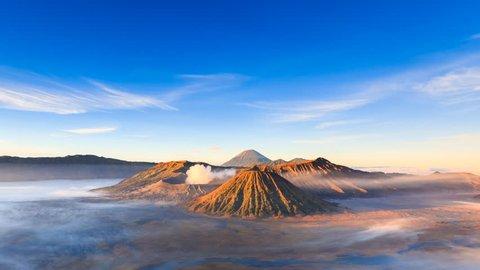 4K Timelapse of Bromo volcano at sunrise, East Java, Indonesia