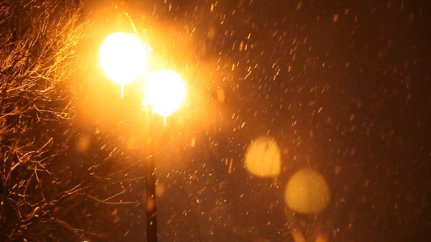 lighting a bowl. Snowing Winter Night And Shine Lights - HD Stock Video Clip Lighting A Bowl