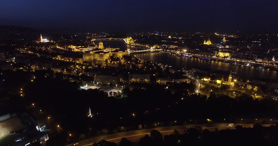 Aerial night view of Budapest | Shutterstock HD Video #13706795