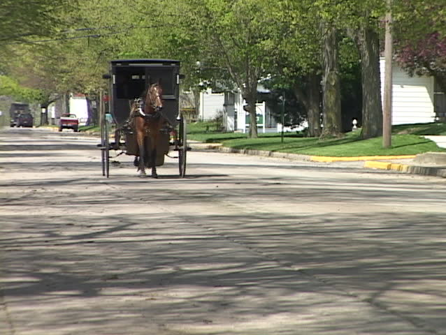 An Amish horse cart passes on a quiet street.