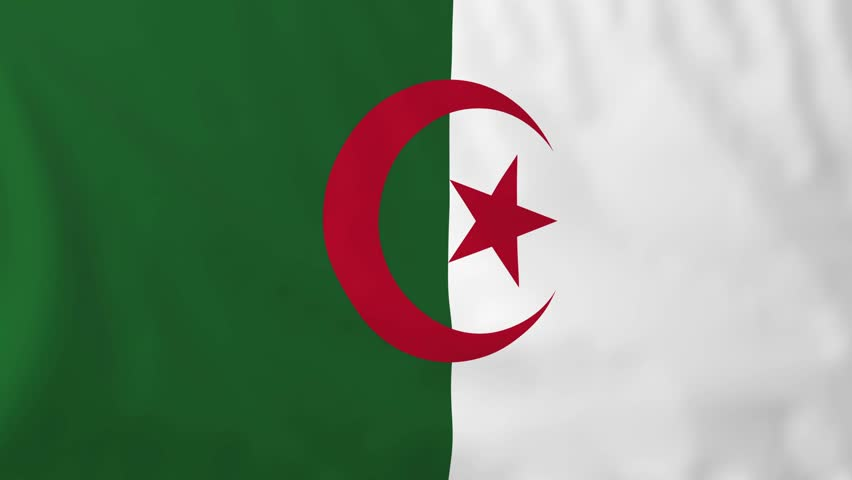 Flag of algeria slow motion waving rendered using official design and colors