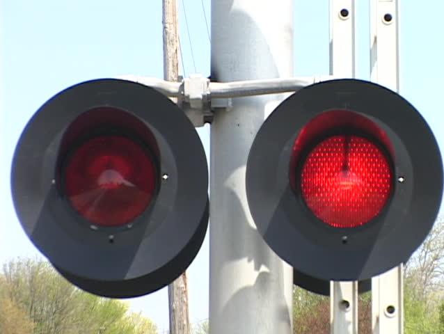 Train Crossing Flashing Red Lights Railroads Stock Footage Video