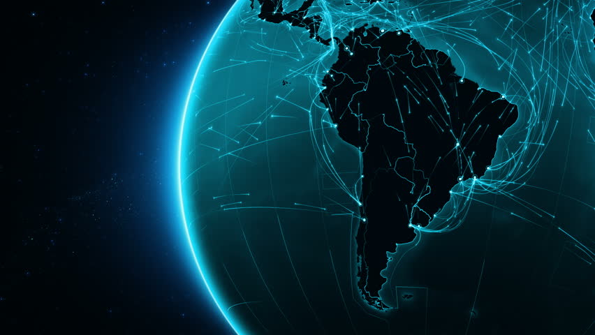 Earth connections. South America. Aerial, maritime, ground routes and country borders. Animation of the Earth with bright connections and cities. Cyan.