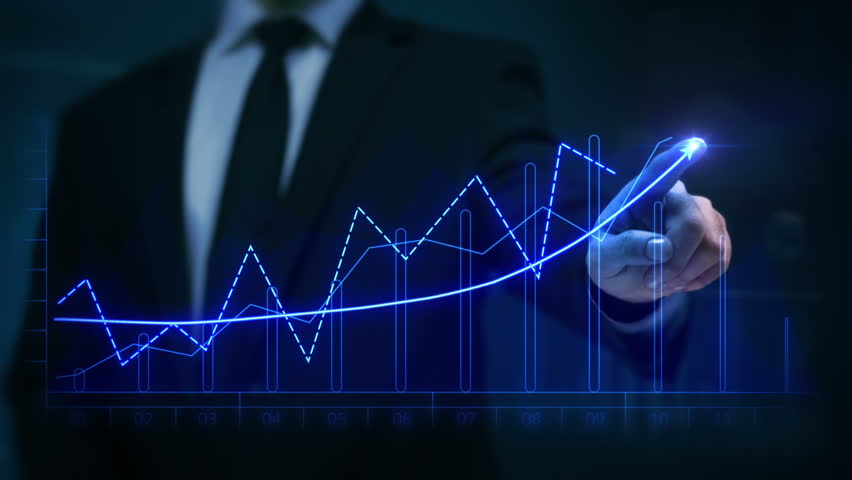 Businessman drawing an ascending financial chart. Touchscreen. 2 colors in 1 file. Red and blue. Businessman drawing a bright arrow showing increasing profits in a financial chart. Business success. | Shutterstock HD Video #13806821