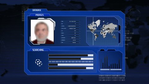 Computer interface searching in a database. People. Blue. More color options in my portfolio.