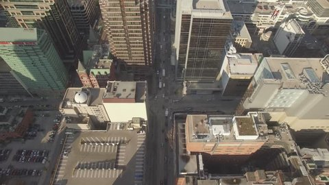 4k Aerial shot highrises downtown Toronto in a sunny day 2