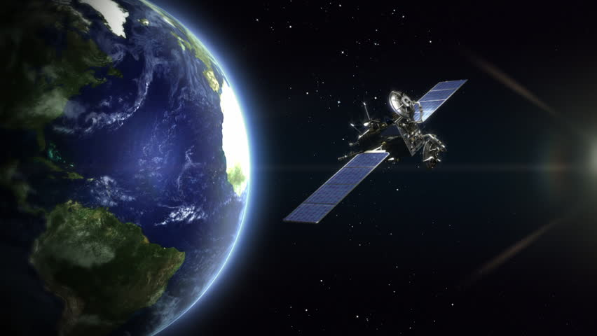 Rotating realistic Earth, Northern Hemisphere . With satellite. Loopable. Beautiful rotating Earth with a telecommunication satellite, cinematic look. Images courtesy of: http://www.nasa.gov. | Shutterstock HD Video #13811771