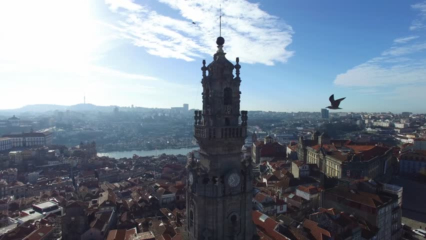 Aerial View of Clerigos Tower, Porto, Portugal