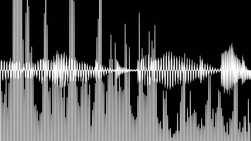 Audio waveform and spectrum animation, simple black and white sound wave as motion background