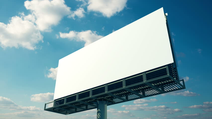 Blank billboard. Puffy clouds in the blue sky background. Time lapse