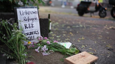 Refugee grave protest, borders kill, Berlin, Germany, close up