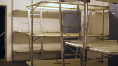 GERMANY - CIRCA JULY 2015 - Bunk beds for soldiers inside a bunker