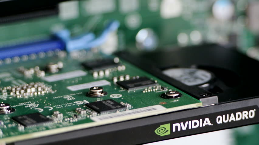 PARIS, FRANCE - CIRCA 2016: Nvidia Quadro K2200 Professional video card in modern workstation computer