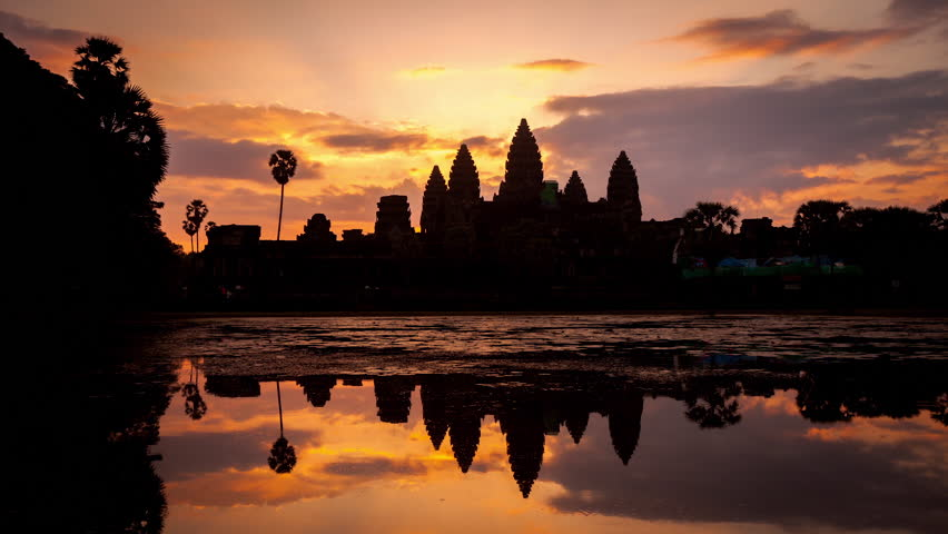 timelapse of sunrise over angkor stock footage video 100