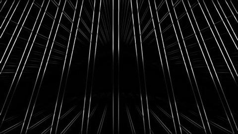 White 3d lines rotating in space on a black background. Contrasty outlined look. Version 3