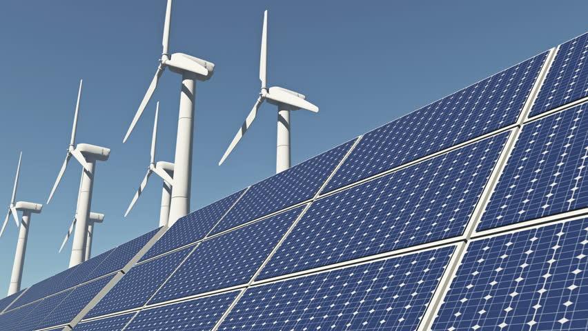 4k Solar panels & Wind power,green free clear energy. cg_03198_4k