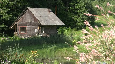 old rustic wooden small bathhouse in country yard near pond. Focus change. 4K UHD video clip.