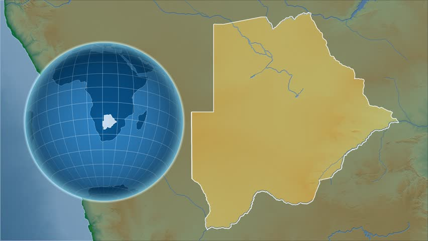 Botswana Shape Animated On The Relief Map Of The Globe Stock Footage