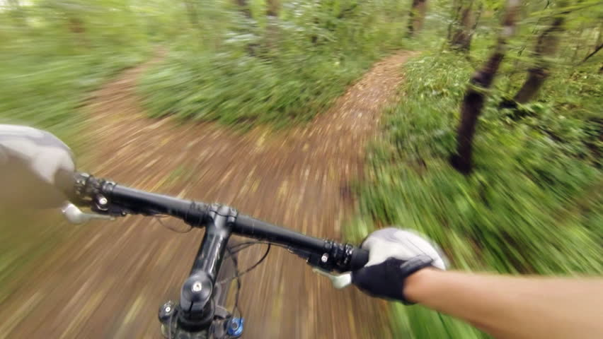 Speed riding downhill a MTB bike on rocky mountain. View from first person perspective POV. Inspiration and motivation extreme sport activity. Gimbal stabilized view. | Shutterstock HD Video #13963295