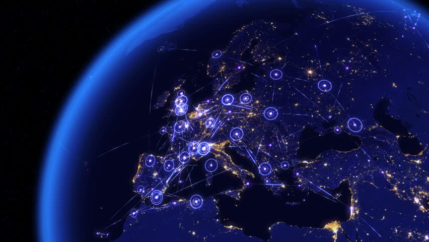 Global communications through the network of connections over Europe. Concept of internet, social media, traveling or logistics. High resolution texture of city lights at night. 4k - Ultra HD.