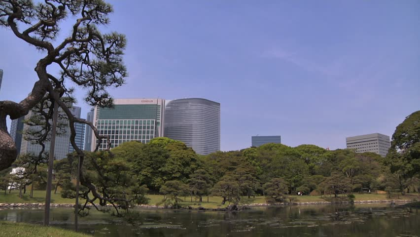 Japanese Garden in Tokyo Tokyo Shiodome Japan  March 2010  | Shutterstock HD Video #1398085