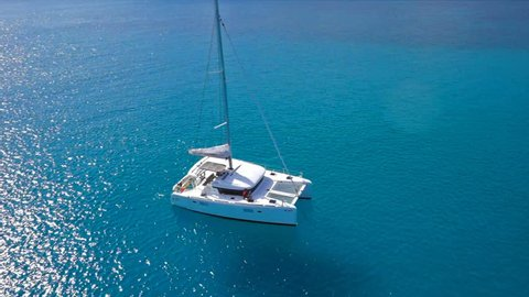 Catamaran sailing in opened sea of Seychelles
