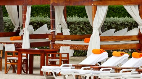 Beach lounge chairs at a resort
