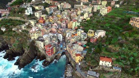Aerial view of Riomaggiore in Cinque Terre, Italy
