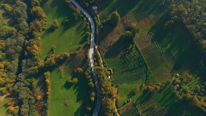 Flight over a rural landscape road following a car driving on it with lush green foliage, farming land and houses/Aerial shot of a rural road with a car driving on it.