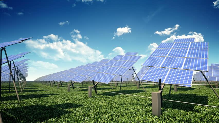 Solar farm in the field. Seamless loop.