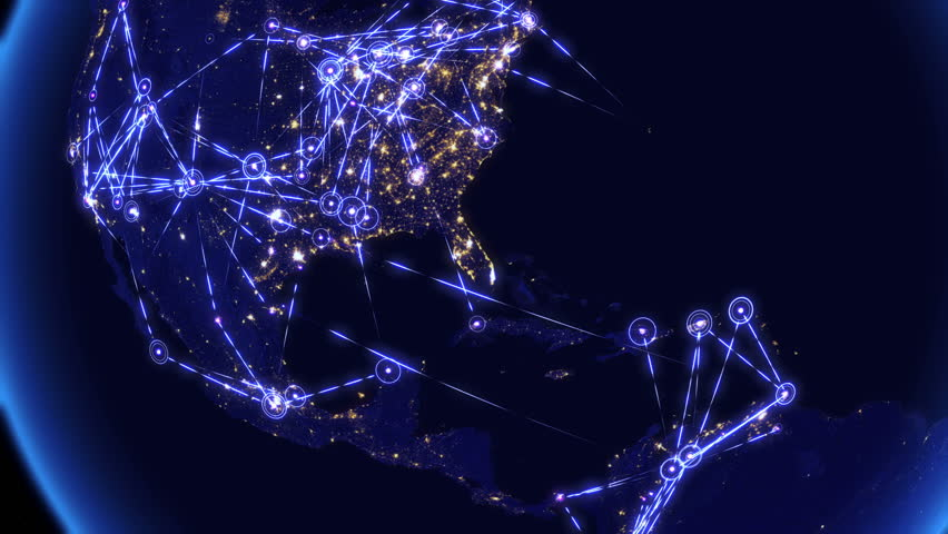 Global communications through the network of connections over North and South America. Concept of internet, social media, traveling or logistics. High resolution texture of city lights. 4k - Ultra HD.