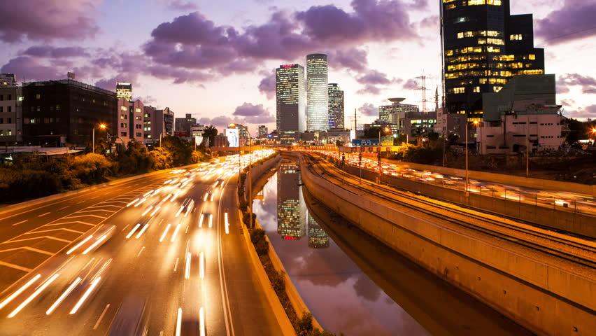 4K - Traffic Time Lapse - Ayalon Freeway, Tilt Up | Shutterstock HD Video #14058695