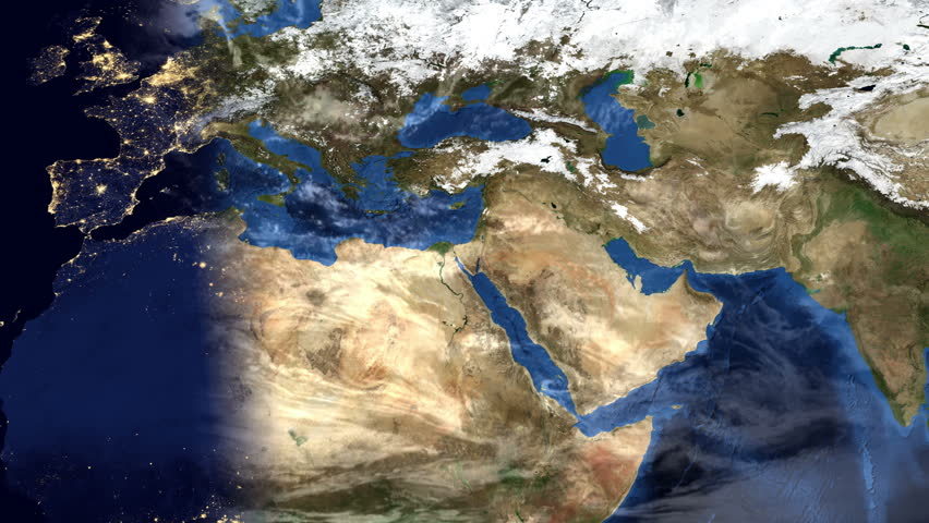 Middle East Morning Timelapse Map Of Planet Earth With Clouds - Map of egypt hd