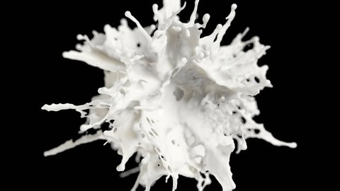 Milk explosion on black background (cg ,slow motion, with alpha matte, full hd)