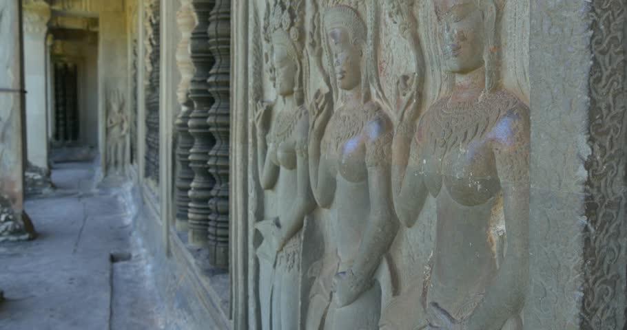 K bas relief stone carving angkor wat cambodia ancient