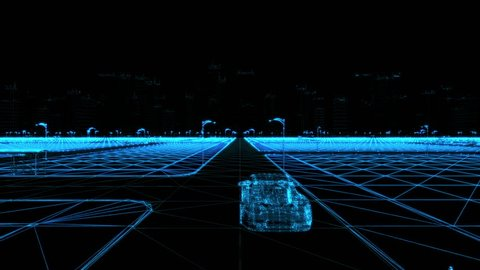 Abstract 3D Car Animation in Wireframe and pointcloud Futuristic City