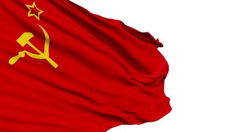 Seamless looping 3D rendering USSR(Union of Soviet Socialist Republics) flag closeup waving in the wind - seamless loop, 10 seconds long. (Alpha channel is included)