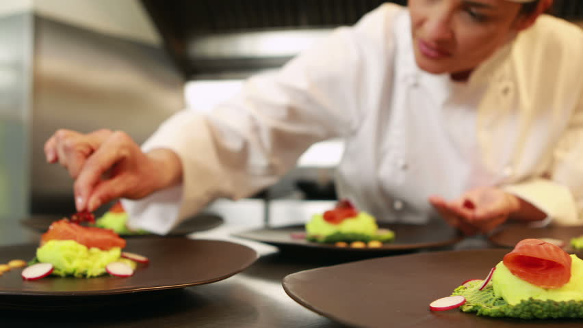 Restaurant Kitchen Video professional chef cooking, working and preparing asian food and