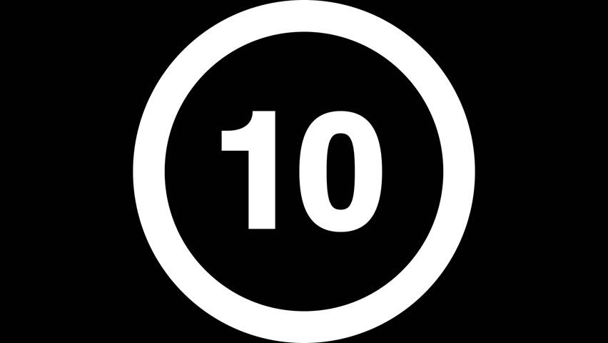 Wiping ON/OFF Countdown (30fps). Simple countdown with a circle wiping clockwise ON and OFF from 10 to 1. Includes alpha channel for transparency over custom backgrounds.