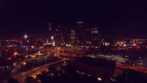 Night Time Downtown Houston Aerial View 4K